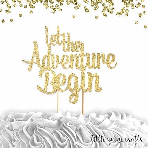 Amazon 1 Pc Let The Adventure Begin Gold Glitter Cake Topper