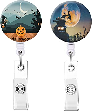 Pumpkin badge reel. Name badge holder Retractable nurse ID badge clip Halloween badge reel