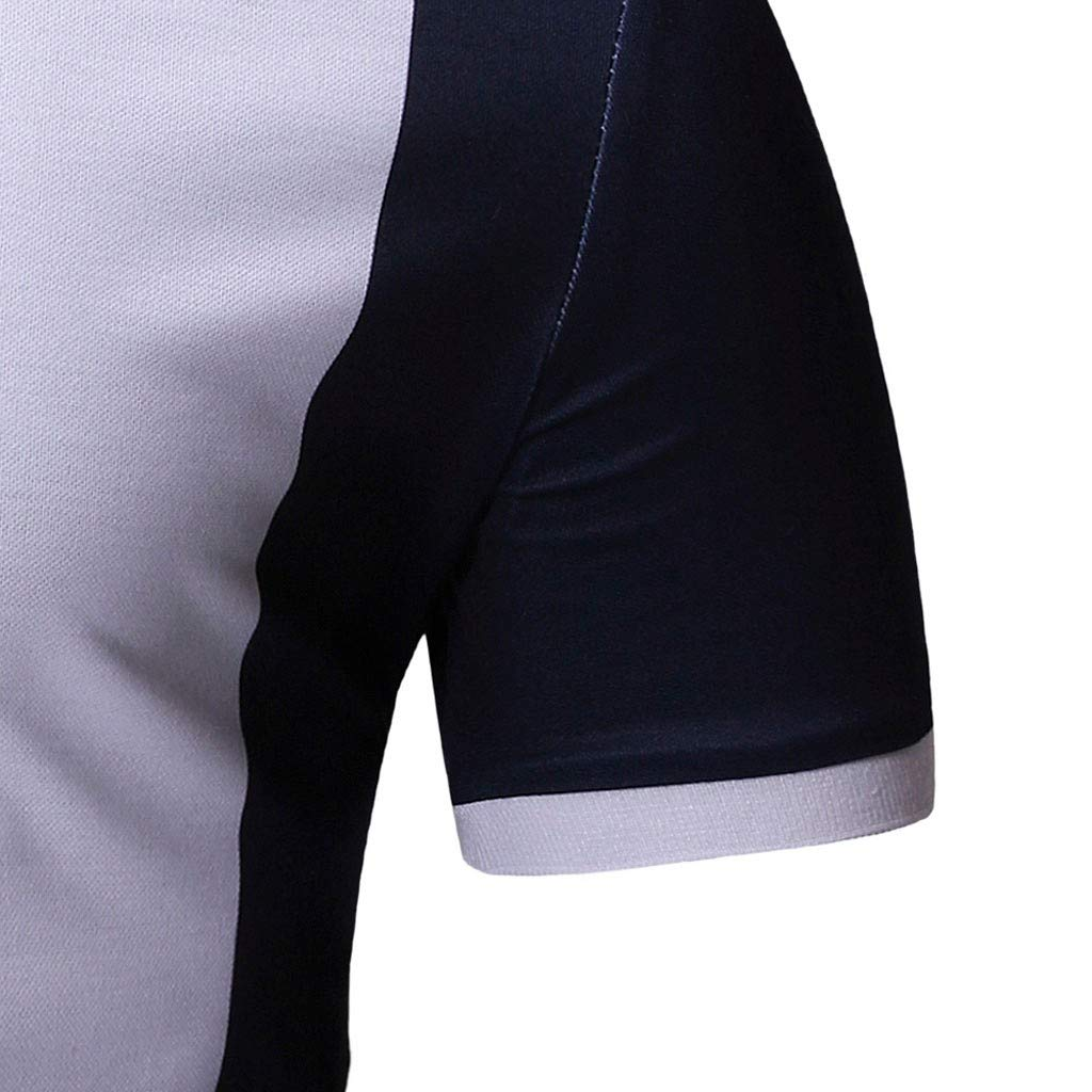Big and Tall Mens T Shirts,Men Spring Winter Stand Collar Fashion Casual Short Sleeve Spell Color Slim Top