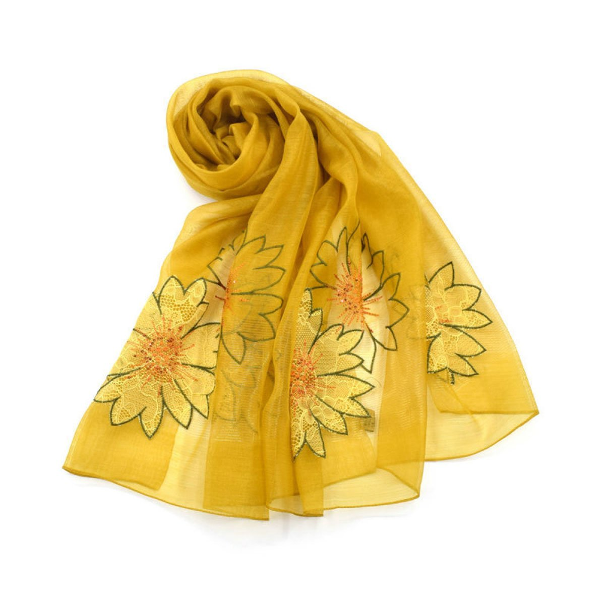 A JUN Silk Scarf Long Section Wild Print Embroidery Embroidery Scarf Shawls Beach Scarf Seasons (Length  190  80cm, Packing of 1) (color   H)