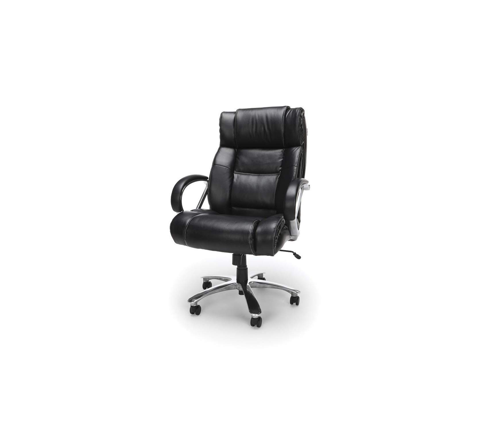 Оfm Avenger Series Big and Tall Leather Executive Chair - Black Computer Chair with Arms, Black/Chrome