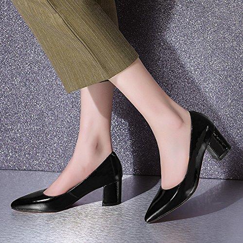 Boca Gruesa ZHUDJ Superficial Mujer De Una Mujeres Zapatos Zapato black Heels C04qCp8g