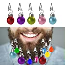 Locisne Multi Coloured 12 Mini Beard Bauble Decorations Baubles with Hair Pins Novelty Fun Festive Gift for Christmas