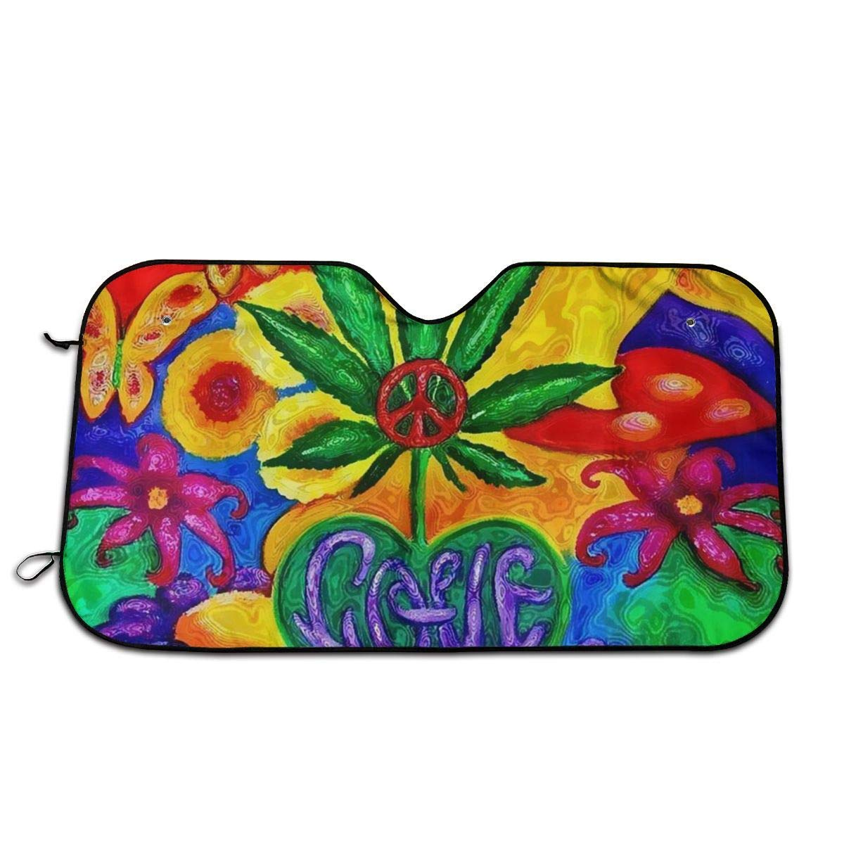 Hemp and Flower Paintings Home Universal Front Auto Car Windshield Sun Shade Sun Visor Car Sun Shade Keep Vehicle Accessories,Size 55x30 Inch by huagu