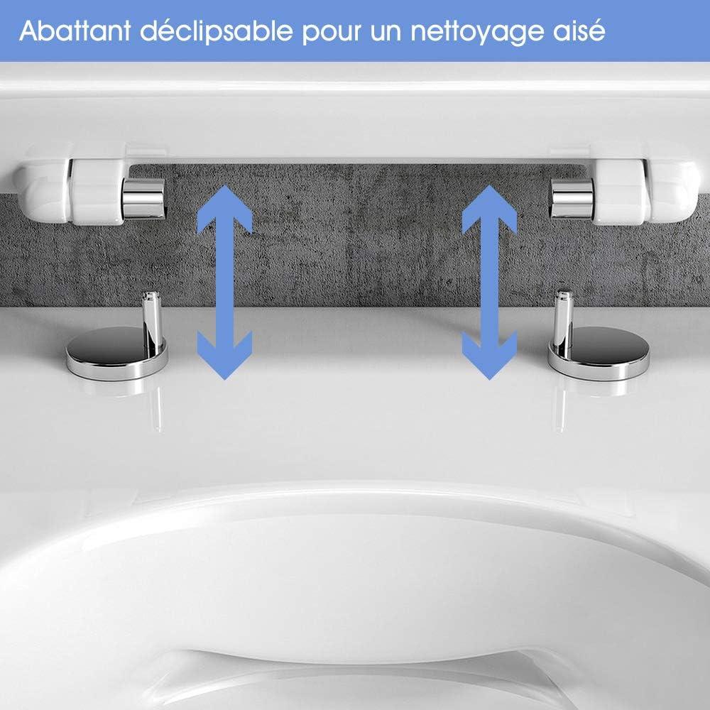 Pack complet WC suspendu sans bride COMPACT : B/âti-support Abattant Cuvette sans bride Plaque Hoop blanc 3//6 L