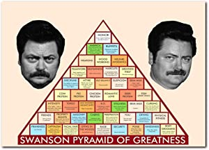 Wall decor Pyramid of Greatness Poster 13x19 Inches   Ready to Frame for Office, Ron Swanson, Parks and Recreation
