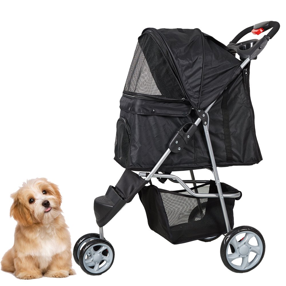 KARMAS PRODUCT Pet Stroller for Dog Cat Small animal Folding Walk Jogger Travel Carrier Cart with Three Wheels, Black
