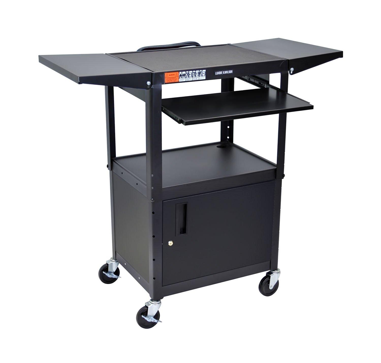 LUXOR AVJ42KBCDL Metal A/V Cart with Pullout Keyboard Tray, Cabinet and 2 Drop Leaf Shelves, Adjustable Height, Black
