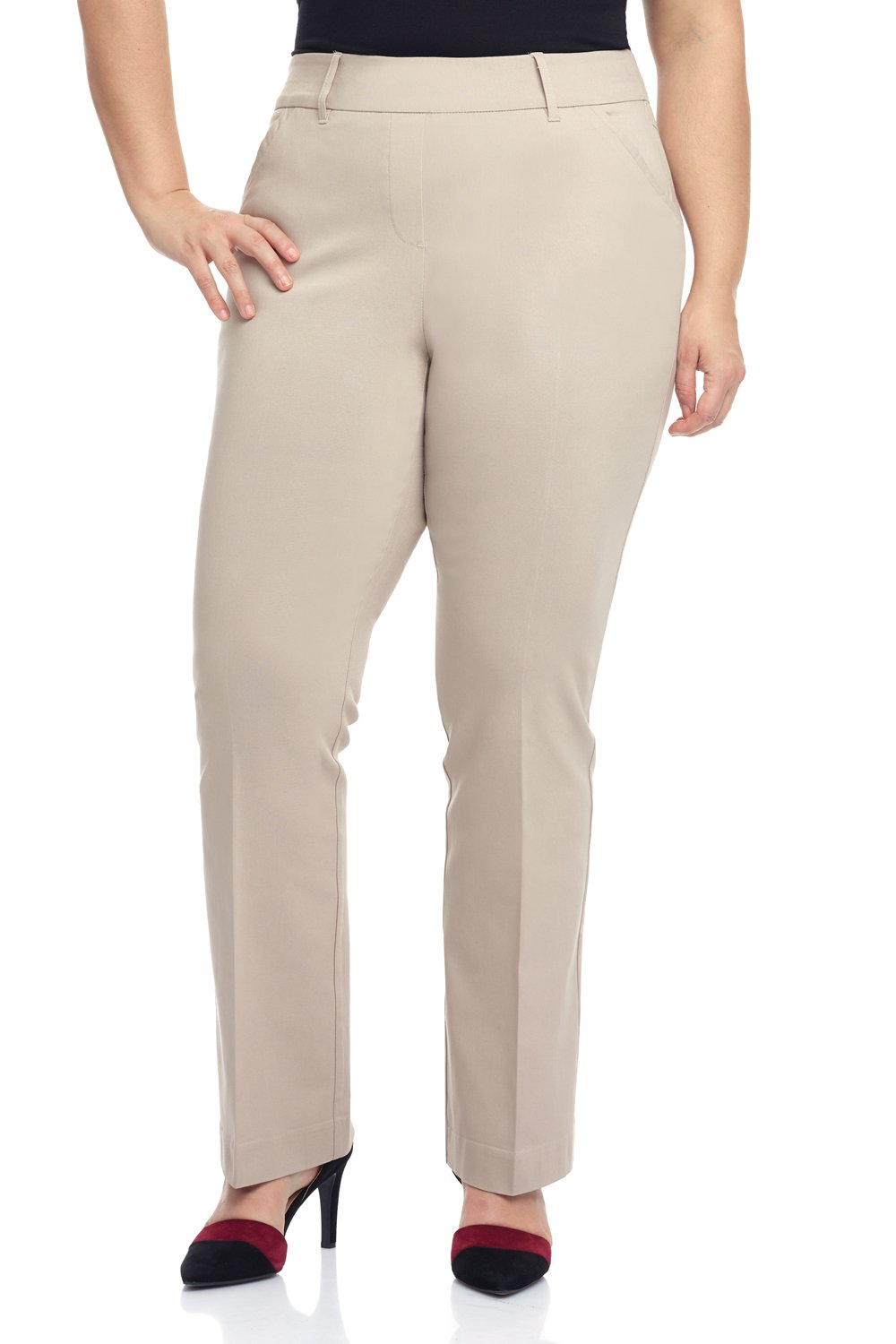 Rekucci Curvy Woman Ease In To Comfort Fit Barely Bootcut Plus Size Pant (18W,Stone)