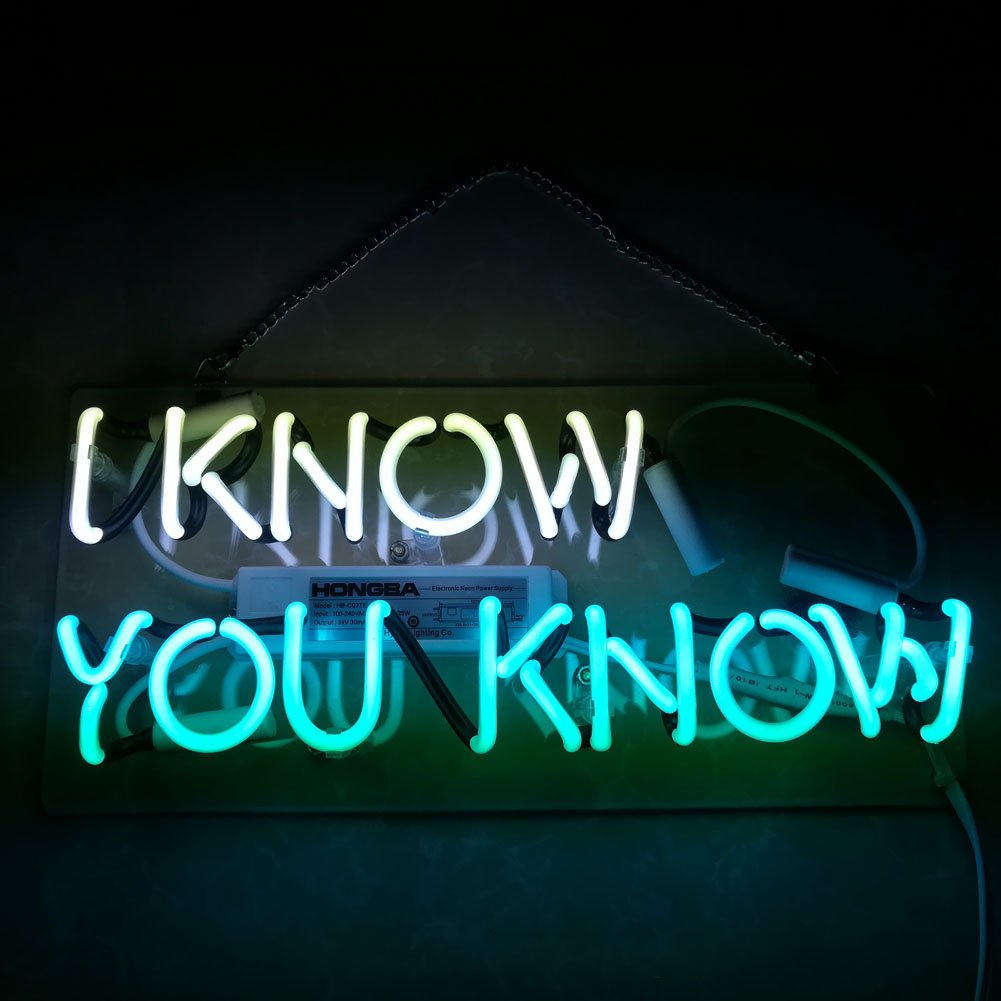 Mugua 'I Know You Know'Beer Neon Sign 14'' x 6'' for Bar Bedroom Garage Game Room