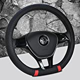 camaro boot cover - Black and Red Color New D shape steering wheel cover breathable automotive car sport steering-wheel covers for VW Volkswagen Santana 2016/ Jetta 2017