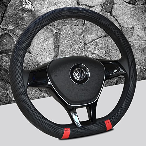 Black and Red Color New D shape steering wheel cover breathable automotive car sport steering-wheel covers for VW Volkswagen Santana 2016/ Jetta 2017