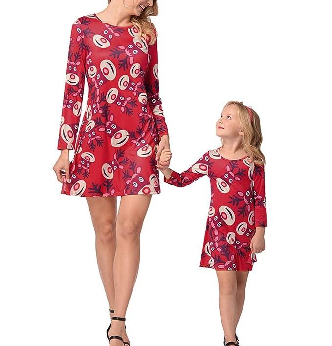 0e842431999c Oneforus Donna Cute Cartoon Dress Elk Natale Mamma  Amazon.it  Abbigliamento