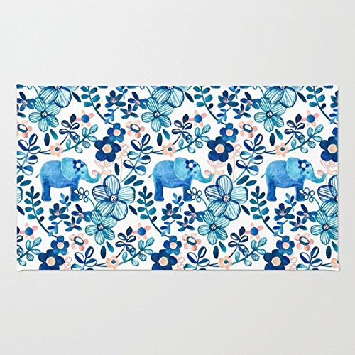 Poppylife Blush Pink, White and Blue Elephant and Floral Watercolor Area Rug Pattern Home Enter Doormat Bathroom/Kitchen/Workstations Decor Mat 20