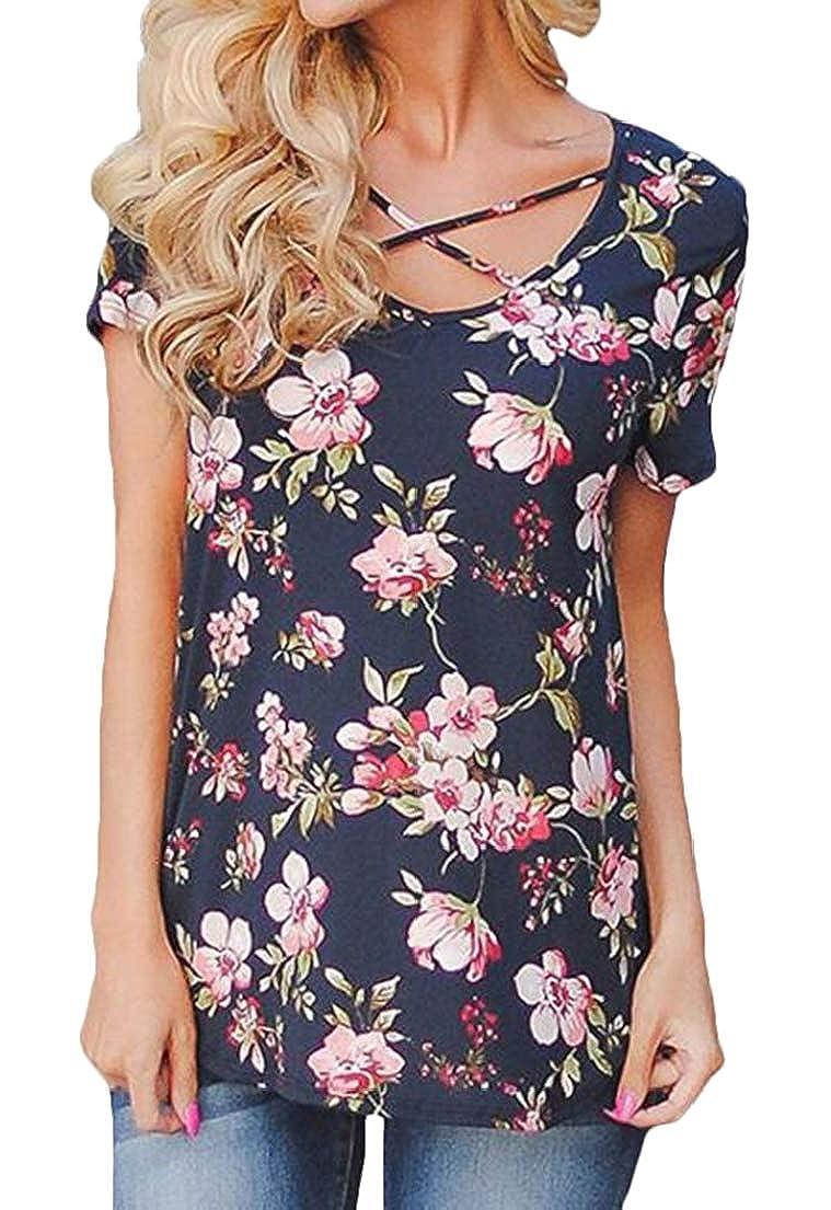 Zantt Womens Criss Print Short Sleeve V Neck T-Shirt Tee