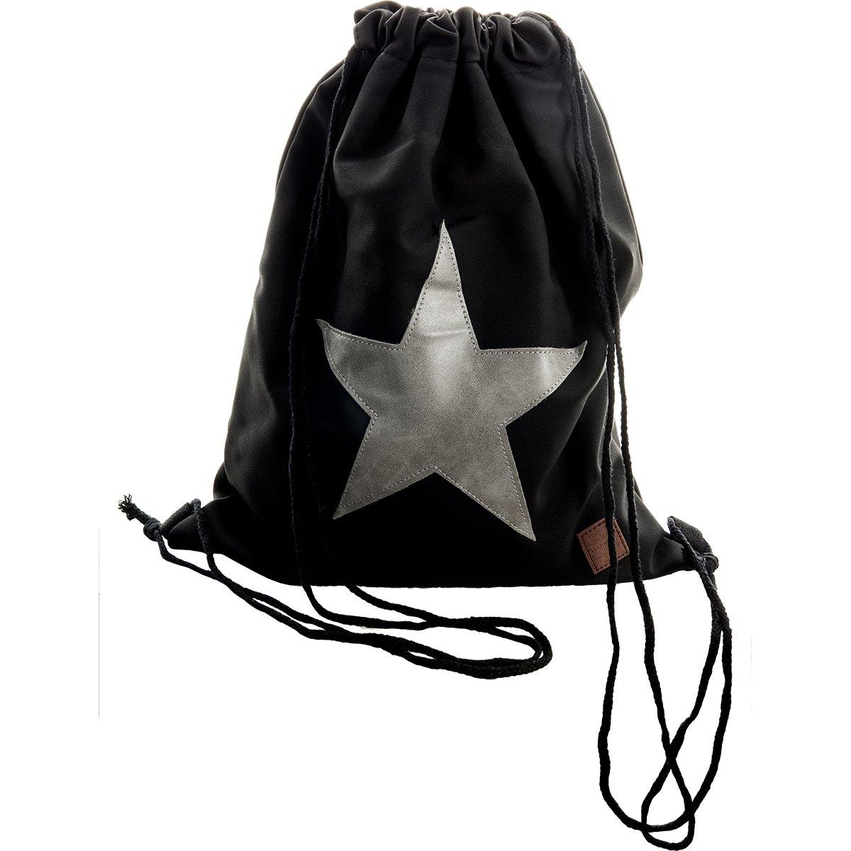 Bolsa de gimnasio con estrella cosida, mochila, Braun mit hellbraunem Stern hats