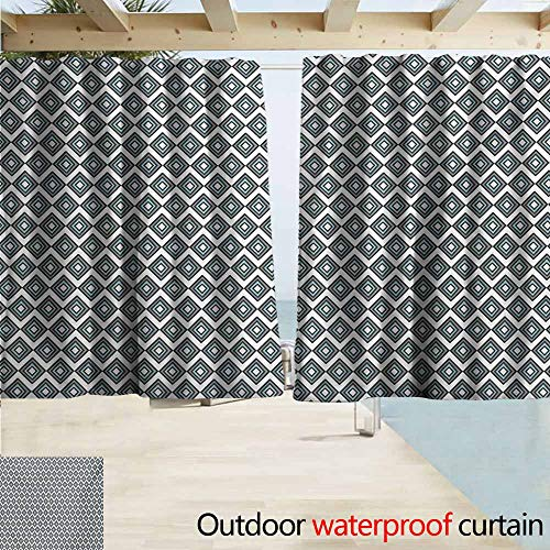 AndyTours Window Curtains,Grey Blue Geometric Arrangement Bullseye Pattern Rhombuses Modern Illustration,Rod Pocket Energy Efficient Thermal Insulated,W72x45L Inches,Pale Blue and Grey