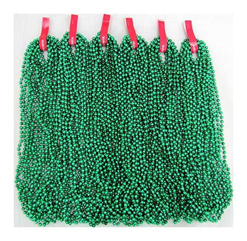 MasternicheProducts 288 Pcs Mardi Gras Green Beads St Patricks Day Necklace - 24 Dozens Wholesale -