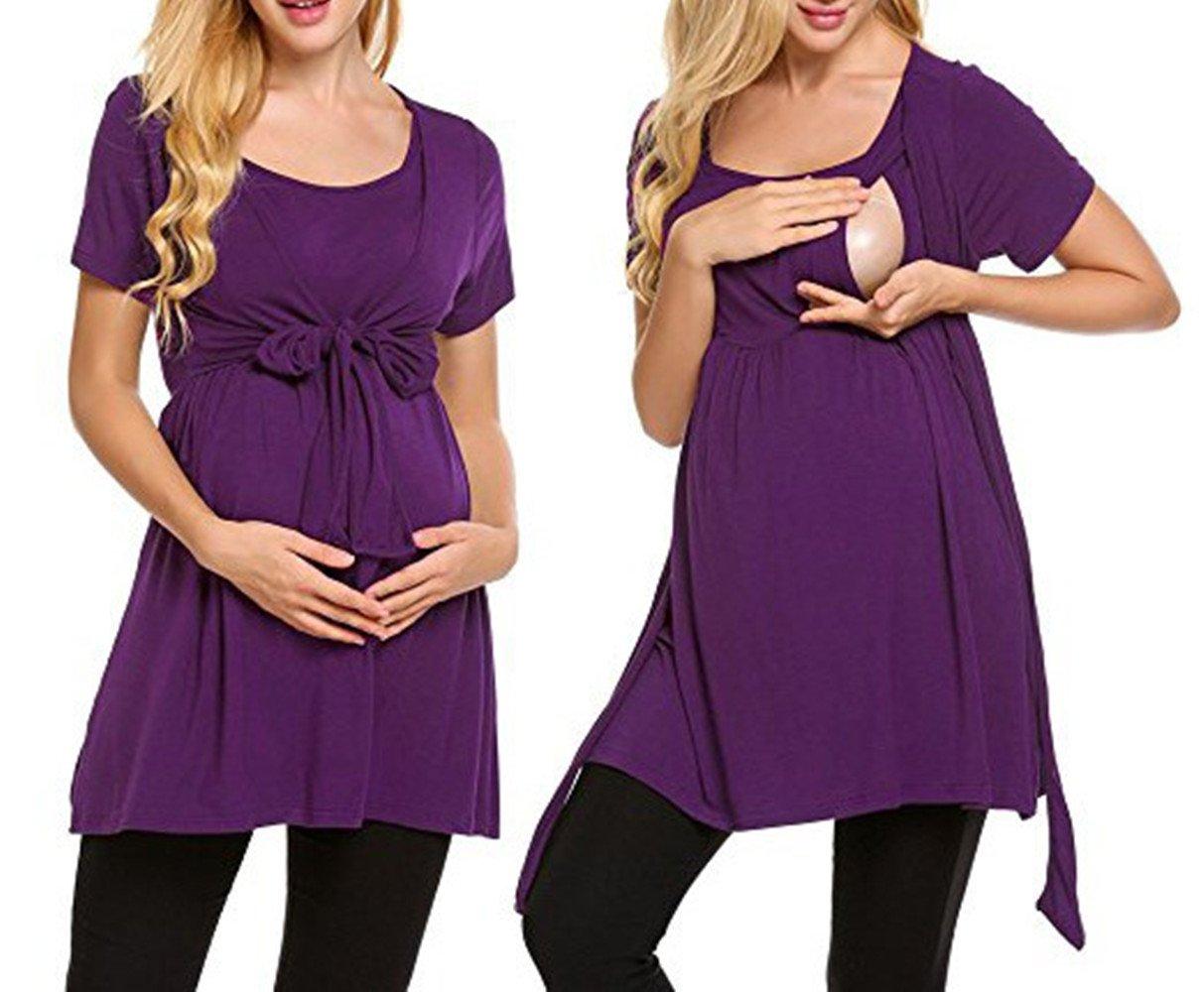 Swallowuk Femmes Casual Maternité d'infirmière chemisier d'allaitement T-shirt manches courtes–o-cuello Chemise pour maman blanc blanc L