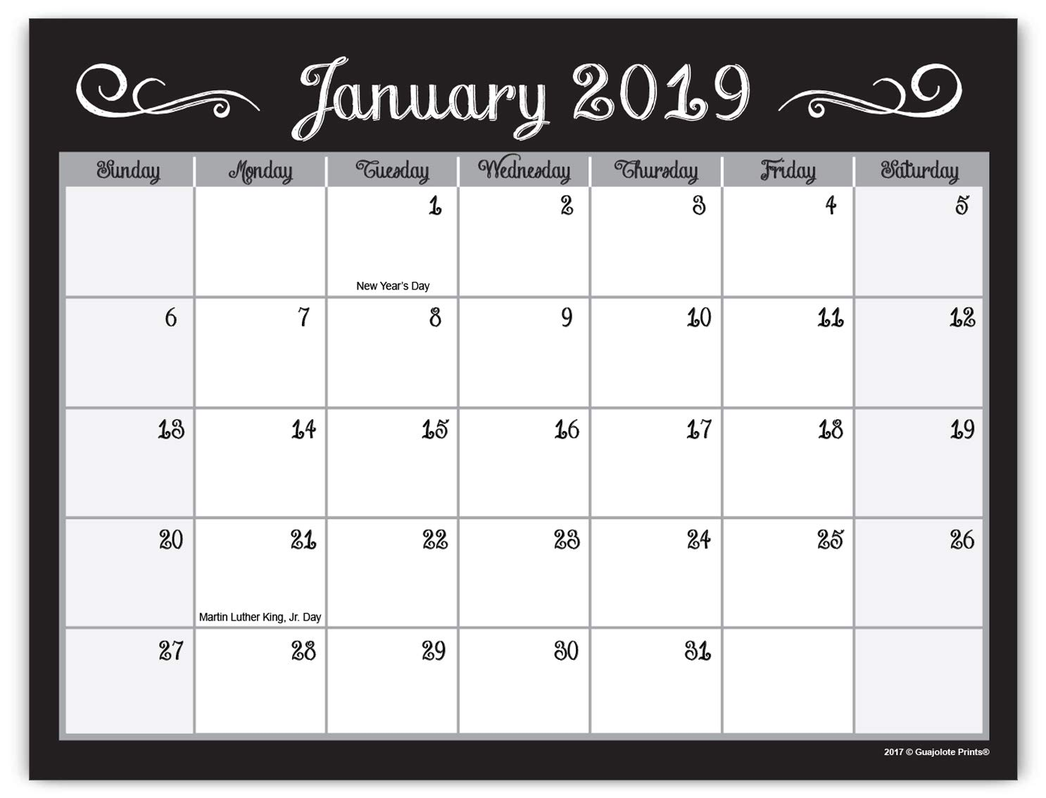 Guajolote Prints 2019-2020 Magnetic Monthly Calendar Pad for Refrigerator - 7.25 x 10 inches - 25 Months, from December 2018, to December 2020