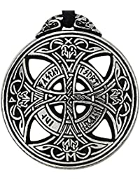Pewter Large Celtic Knot Love Pendant Viking Norse Rune Necklace - 1 3/8 Inch Diameter