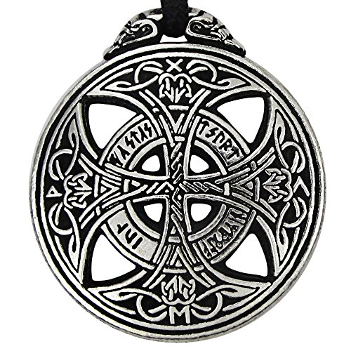 - Pewter Large Celtic Knot Love Pendant Viking Norse Rune Necklace - 1 3/8 Inch Diameter