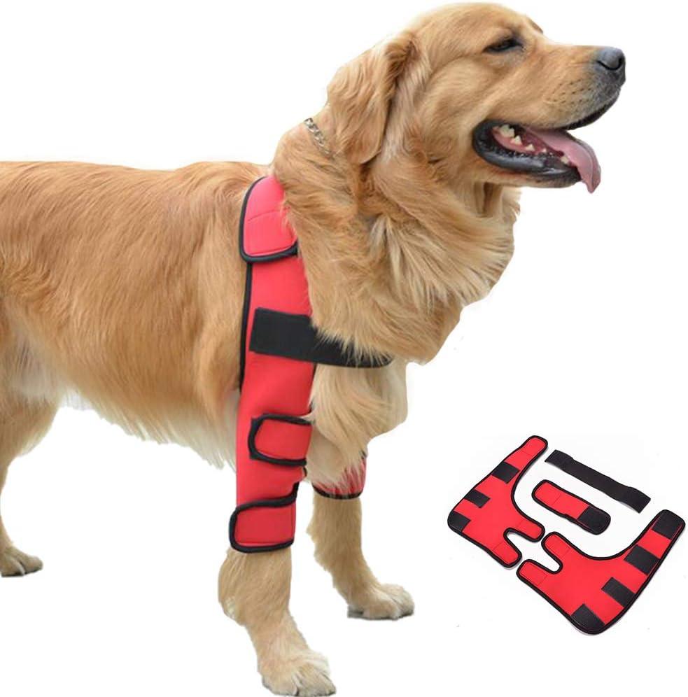 01 Ortesis para perros, protector de rodilla para mascotas, protector de pierna, cubierta de rehabilitación, vendaje de sanación para articulaciones de codo para perro, cubierta de protección (rojo)