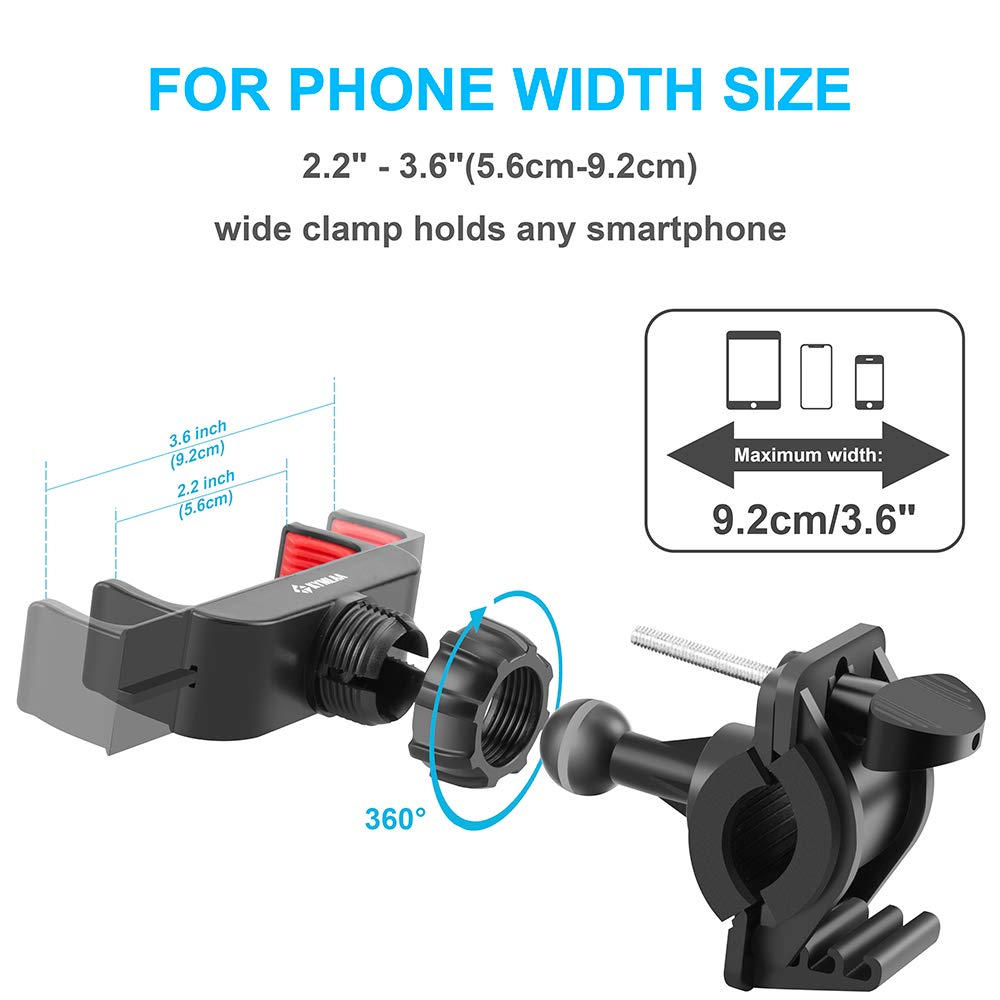 Kymlaa Universal Adjustable Cell Smartphone Holder for Bicycle Motorcycle Compatible with iPhone X XR XS 8 8Plus 7 7Plus 6 6S Plus Galaxy S9 S8 S7 Nexus HTC LG BlackBerry Huawei Bike Phone Mount