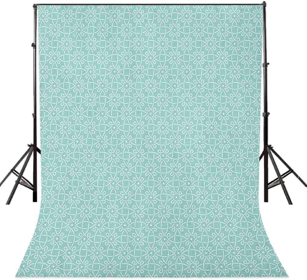 7x10 FT Vinyl Photography Background Backdrops,Aqua Celtic Style Twisted Crossed Repeating Circle Figures and Bent Line Webs Print Background for Selfie Birthday Party Pictures Photo Booth Shoot