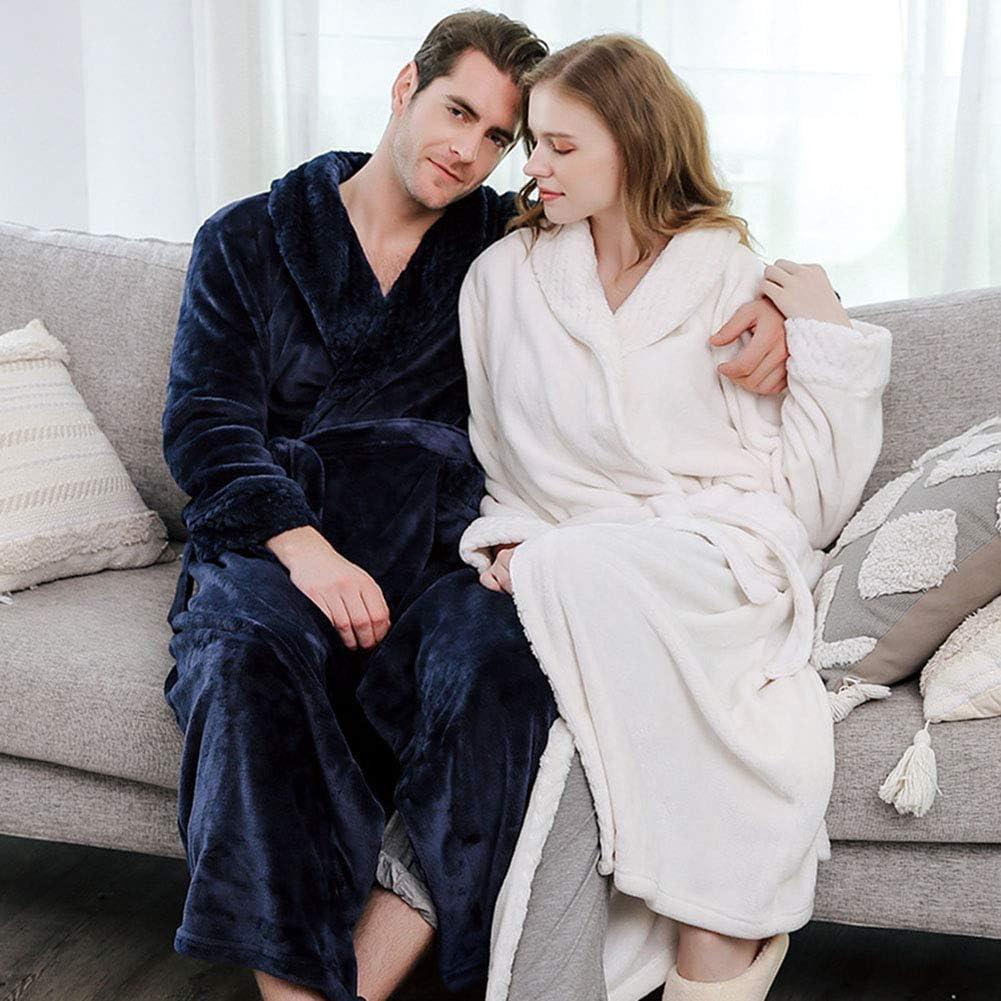QCUTEP Mens Bath Robe Warm Plush Fleece Night Robe Men Long Robe Warm with Shawl Collar Purple L
