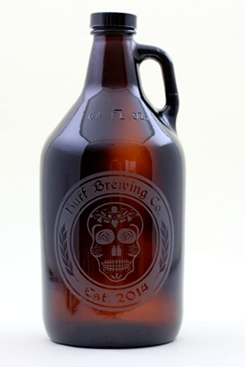 amazon com personalized engraved beer skull home brew beer growler