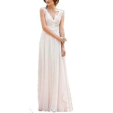 ABaowedding Lace Beach Wedding Dress for Bride V-Neck Long Chiffon ...