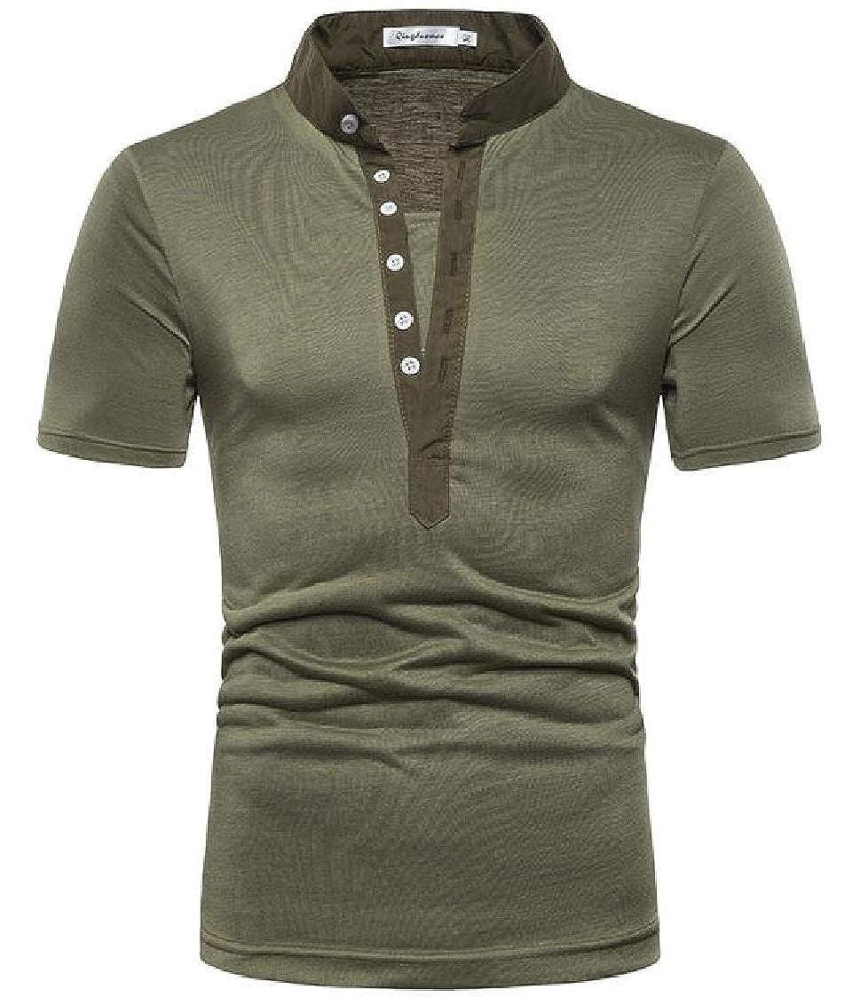 Nanquan Men Solid Colors Casual Button Down Short Sleeve Slim Fit V-Neck T-Shirt Tee