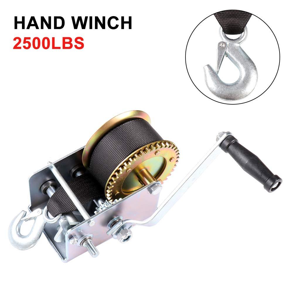 LUJUNTEC Heavy Duty Hand Winch 2500LBS 2 Gear Hand Winch Nylon Strap for ATV Boat Trailer Auto Manual Lifting Sling Tool