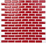 Tic Tac Tiles Anti-mold Peel and Stick Tile in Brick Rosered (10)