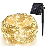 (US) Solar String Lights (72 ft, Waterproof, 8 Modes), Ankway Bendable Copper Wire High Efficiency 200 LED Durable Fairy Outdoor String Lights for Garden, Patio, Wedding and Christmas Party (Warm White)