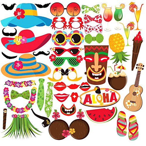 VSTON 60 Pieces Hawaiian Photo Booth Selfie Frame Props Unisex Funny DIY Kit Photobooth Prop Mustache Masks for Luau Tropical Tiki Beach Summer Pool Party ()