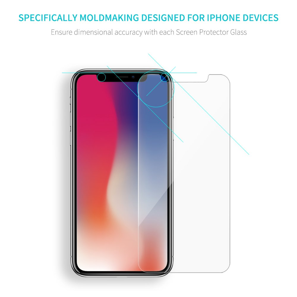 [2 PACK] Roadwi iPhone X Screen Protector Tempered Glass for Apple iPhone X / 10[5.8 Inch], [Scratch Resistant] Touch Accurate][Impact Absorb] [Easy Install]