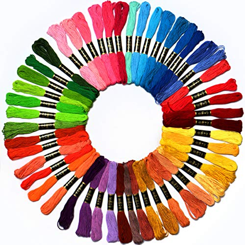 50 Skeins Embroidery Floss Mega Pack embroidery thread Approx 8m per skein Various Colors 100% long stapled Cotton (String Color)