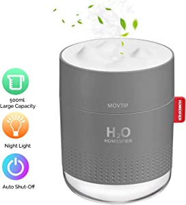 Portable Mini Humidifier, 500ml Small Cool Mist Humidifier with Night Light, USB Personal Desktop Humidifier for Baby Bedroom Travel Office Home, Auto Shut-Off, 2 Mist Modes, Super Quiet, Gray