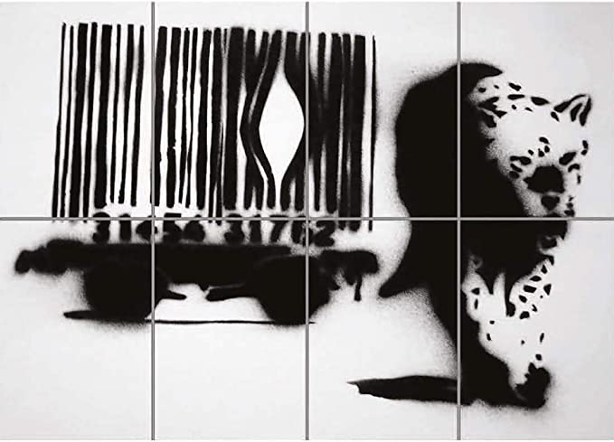 Banksy Leopard Street Graffiti large Wall Art Panel Poster Print 47X33 Inches