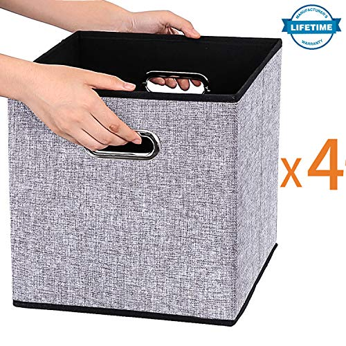 Storage Containers Shelves - Foldable Storage Cube Box Container Linen Fabric 100% No Smell [4Pack]Collapsible Storage Bin Baskets Organizer Drawer Cabinet Shelf Container with Metal Handles for Livingroom Toys Gifts Medicine