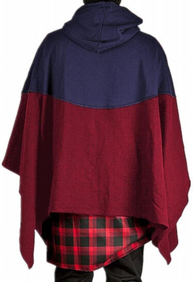 Zantt Mens Color Block Drawstring Poncho Hiphop Pullover Hoodies Sweatshirt