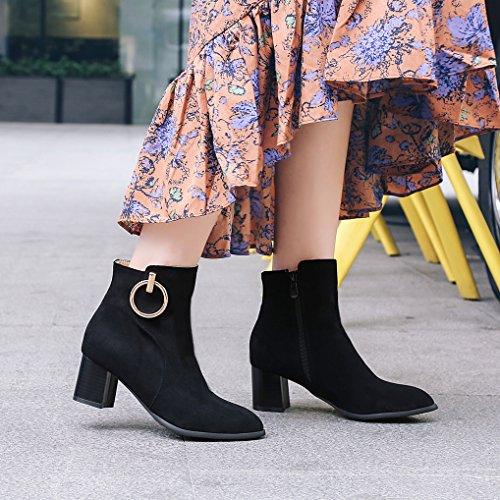 Anneau Boots Effet Noir Soirée Hiver Cheville Chaussures Moyen Chelsea Bottines Talon Femme Oaleen Daim ZYwqHFvT