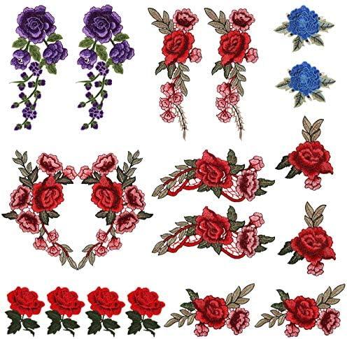 LEMESO 18 piezas Ropa Parches de Rosas Elegantes Material de Costura Adornos Flores para Ropa DIY Dise/ño Apliques de Modo Decoraciones