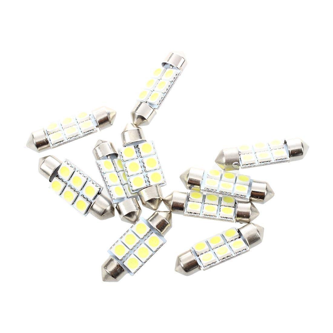 TOOGOO(R) 10 Pcs 36 mm avec 6 SMD LEDs Blanc Dome Feston Lumiere Voiture Interieur Ampoule LED Blanc Dome Feston de Voiture Interieur Lampe Ampoule 035094A1