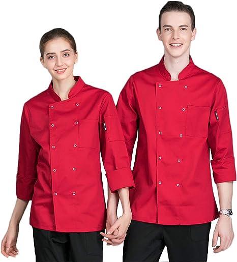 WYCDA Camisa de Cocinero Cocina Uniforme Manga Larga Rojo Azul Blanco Negro Algodón Duradero Camisa de Manga Larga del Chef,Rojo,XXXL: Amazon.es: Hogar