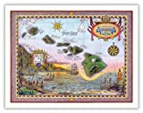 Pacifica Island Art Map of Old Hawaii by Steve Strickland - Vintage Maps of Hawaii