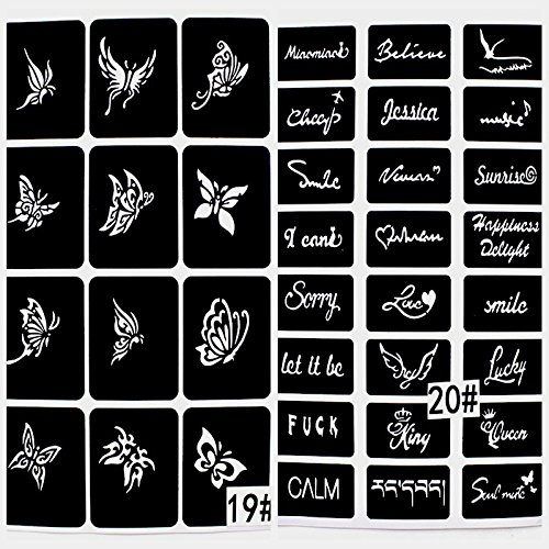 20 Sheet (446 Pieces) Airbrush Tattoo Stencils Album Art Book,Small Glitter Tattoo Template for Body Painting by xmasir (Image #6)