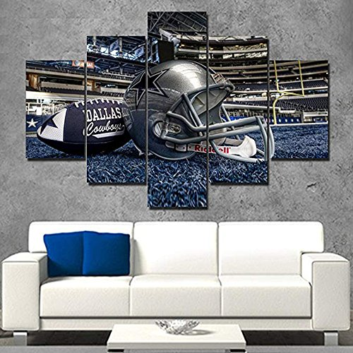 Painting Wall Art Super Bowl Pictures Prints on Canvas Extra Large Home Decor American Football Framed 5 Pieces Modern Artwork Home Decor for Living Room Gallery-wrapped Ready to Hang(60''Wx40''H) ()